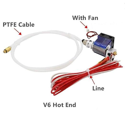 Impresora 3D – E3D V6 J-Head Hotend + ventilador – extrusor Bowden ...