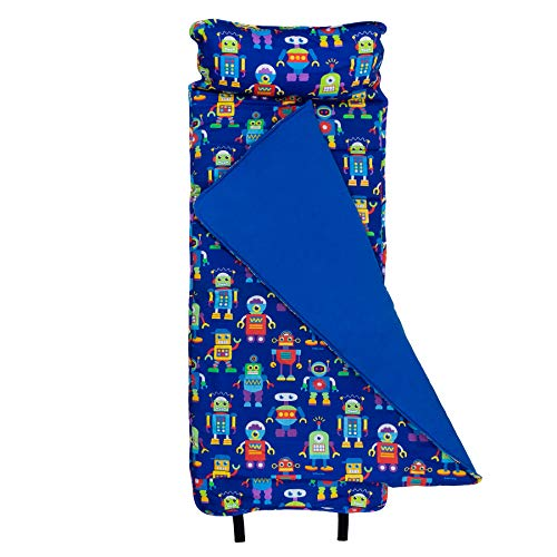 Wildkin Original Nap Mat, Features Built-In Blanket and Pillow, Perfect for Daycare and Preschool or Napping On-the-Go, Olive Kids Design – Robots -