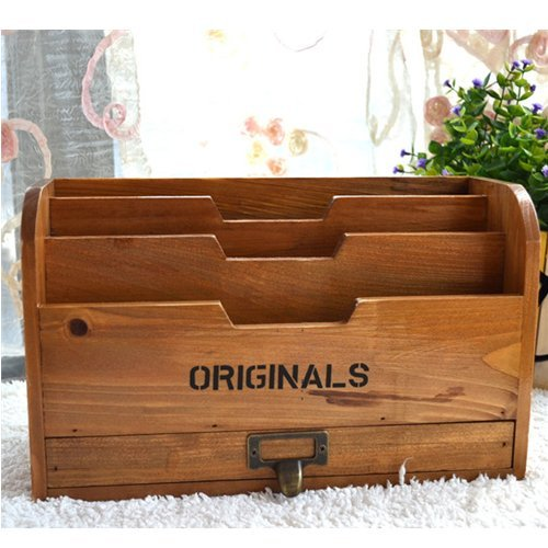 Chris-Wang 1Pk Originals Retro Wooden Stacking Letter Tray/Postcards Holder/Pencil Storage/Drawer Organizer/Desktop Mail Box/File Sorter -