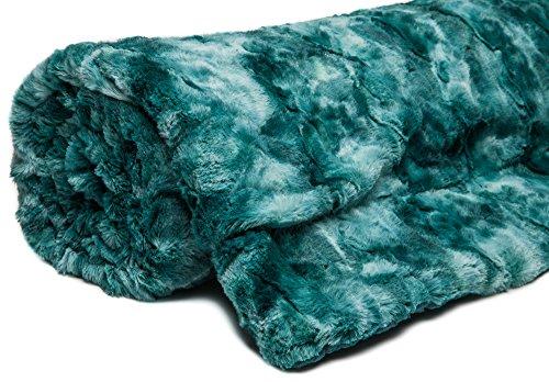 Chanasya Super Soft Fuzzy Fur Faux Fur Cozy Warm Fluffy Beautiful Color Variation Print Plush Sherpa Teal Blue Fur King Microfiber Bed Blanket ( KING )- Teal