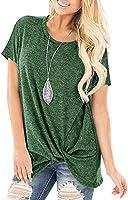 Sundray Women's Knott T-Shirt Round Neck Tops Casual Tunics Short Sleeve Blouses