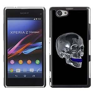 Paccase / SLIM PC / Aliminium Casa Carcasa Funda Case Cover para - Chrome Skull - Sony Xperia Z1 Compact D5503