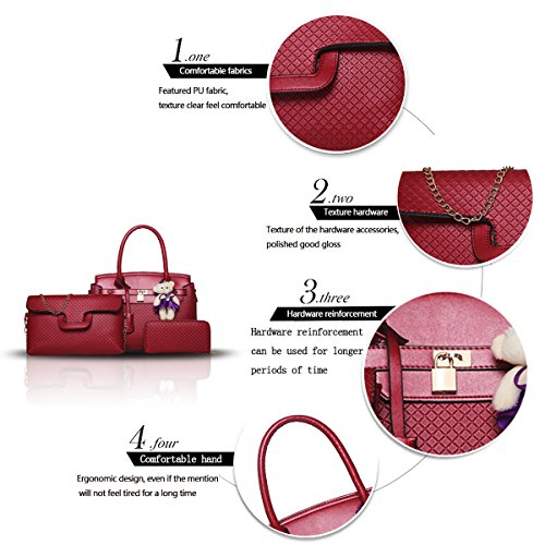 pezzi nuova tre portafoglio 2018 a a Sdinaz tracolla a mano borsa borsa moda femminile da borsa Rosso donna nfU18q8zwx