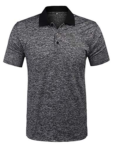 URRU Men's Classic Fit Short Sleeve Golf Polo Shirts Casual Striped Collar Polo T Shirt Grey S