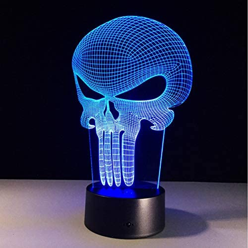 3d Led Nachtlicht Punisher Schadel Multi Colored Bulbing Licht 7 Farbwechsel Acryl 3d Hologramm Illusion Schreibtischlampe Fur Kind Geschenk Amazon De Beleuchtung