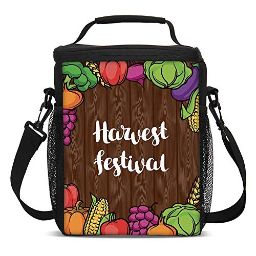 (Harvest Fashionable Lunch Bag,Cartoon Style Colorful Food Frame Traditional Harvest Festival Calligraphy for Travel Picnic,One size)