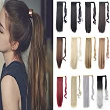 """Ponytail Hair Extensions Curly or Straight clip in on Wrap Around 24""""/26"""" DODOING Synthetic Hairpieces 125g For Women - Dark Black"""