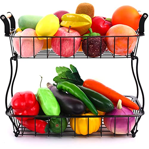 JOMAY Fruit Basket For Kitchen Bread Box For Kitchen Countertop Two Tier Fruit Basket Fruit And Vegetable Storage With Wooden Handle
