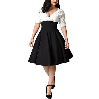 new styles 174a5 db12a iBaste Damen Übergröße Kleid V-Ausschnitt Rockabilly Kleid Festlich Kleid  Partykleid Cocktailkleid große größen