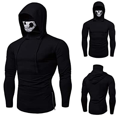66235ca4bb7 Men s Sweatshirt Sunday77 Hoodie Mask Solid Plus Size Long Sleeve Pullover  Outwear Autumn Winter Tops Blouse