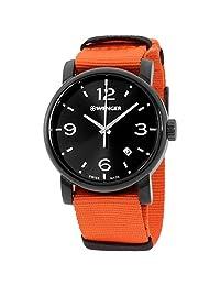 Wenger Urban Metropolitan Reloj casual de cuarzo suizo de acero inoxidable y piel para hombre, pulsera, Black Dial, Black PVD Case, Orange Nylon Strap, Planned Replenishment (PR)