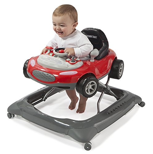 Storkcraft Mini-Speedster Activity Walker Red Interactive Walker with Realistic Driving Experience, Adjustable Seat Pad, Folds for Easy Storage