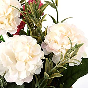 The Bloom Times 3 Packs Artificial Potted Hydrangea Flowers, Fake Small Silk Flowers Floral Arrangement Greenery Plants for Table Home Office Centerpieces Windowsill Wedding Party Decor 4