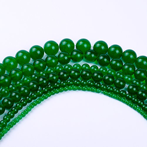Natural Round Dark Green Jade Loose Stone Beads For Bracelet Necklace DIY Jewelry Making 4MM, 6MM, 8MM, 10MM, 12MM By Ruilong - Jade Round Beads Bracelet