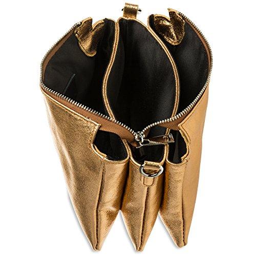 CASPAR véritable Pochette Or cuir de en femme pour métallisé TL776 soirée XwrxXqRa