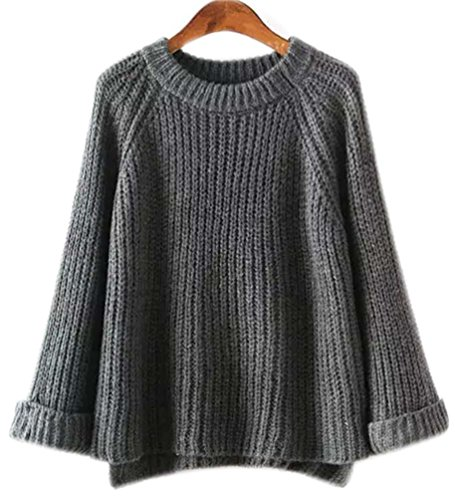 Maille Rond Pull Tops Femme Sous Large Fonc Hiver Automne Gris Oversized Sweater Loose Chandail Tricots Feminin Grosse Sweaters EqggtArxw