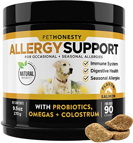 PetHonesty Allergy Support Supplement for Dogs - Omega 3 Salmon Fish Oil, Colostrum, Digestive Prebiotics & Probiotics - for Seasonal Allergies + Anti Itch, Skin Hot Spots Soft Chews