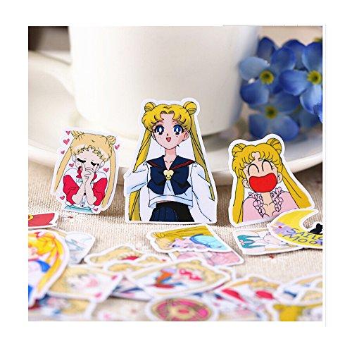 - 6STARSTORE 36pcs creative cute self made pretty guardian sailor moon scrapbooking stickers decorative sticker
