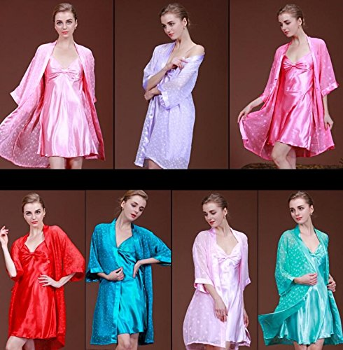 Strap Green Dressing with Nightgown Color Bathrobe Gowns Rosy Gowns Set Dress Dressing Pajamas Women Sleeves Dots Wanyne Medium Printed wtTqgdq