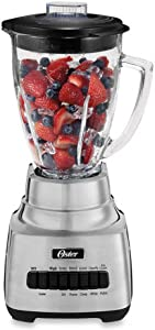 Oster 10-Speed Blender BLSTSS-PC0-000 6 Cup GLASS Jar, BRUSHED NICKEL, silver