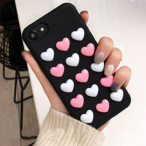 Hülle für iPhone 7 ,Schutzhülle Für iPhone 7 3D Love Candy Full Coverage Schutzmaßnahmen Rückseite Cover Soft Case ,cover für apple iPhone 7,case for iphone 7 ( Color : Black )