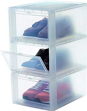 lembrd 3er-Set Schuhboxen Aufbewahrungsboxen Schuhschachtel,Transparente Plastik mit Deckel Kunststoff