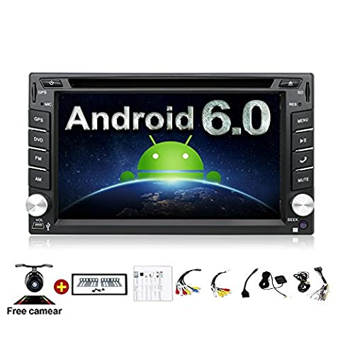 2GB 32G Quad 4 Core 6.2 inch 2 Din Android 6.0 Car Stereo Radio Muti-touch Screen GPS Navigation DVD Player Support 3G WIFI Bluetooth OBD2 Mirror Link with Backup (Dab Car Audio)