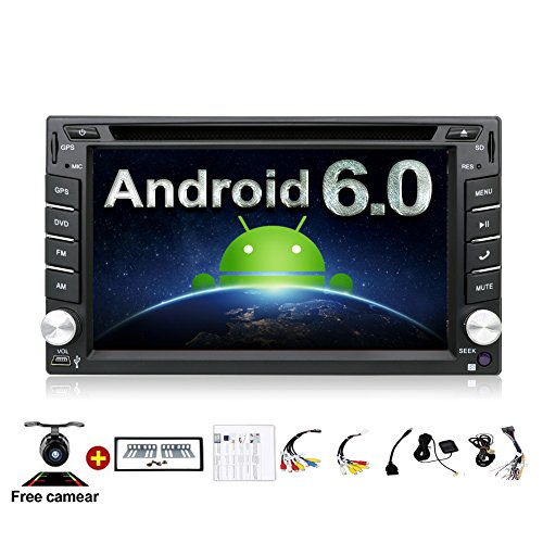 2GB 32G Quad 4 Core 6.2 inch 2 Din Android 6.0 Car Stereo Radio Muti-touch Screen GPS Navigation DVD Player Support 3G WIFI Bluetooth OBD2 Mirror Link with Backup Camera (Cd Player Muti)