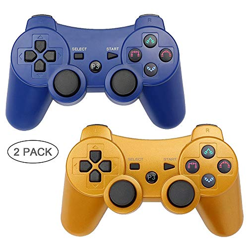 Autker PS3 Controller Wireless 2 Pack Playstation 3 Controller Double Vibration Bluetooth Dualshock 3 for PS3 with 2 Charging Cable (Blue+Gold) ()