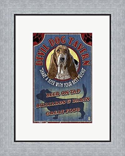 Devil Dog Bar - Devil Dog Tavern by Lantern Press Framed Art Print Wall Picture, Flat Silver Frame, 16 x 20 inches
