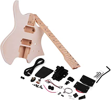 Unfinished Diy Electric Guitar Kit Basswood Body Maple Wood Fingerboard Guitar Neck Without Headstock Amazon Co Uk Musical Instruments