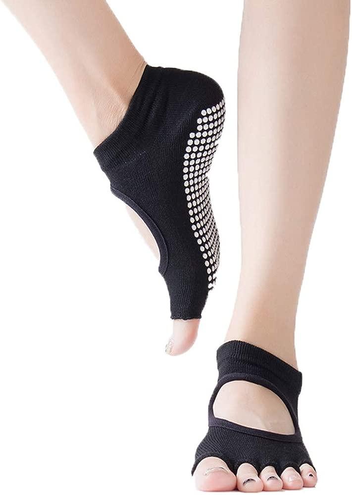 Yoga Socks Non Slip Pilates with Grips, Toeless Anti-Skid Pilate, Barre, Ballet, Bikram Workout Socks for Women