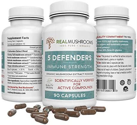 5 Defenders Organic Mushroom Extract Blend (90caps) Chaga, Reishi, Shiitake, Maitake & Turkey Tail Mushroom Supplements, 45-Day Supply of Mushroom Supplement Capsules, Immune Support Wellness Formula