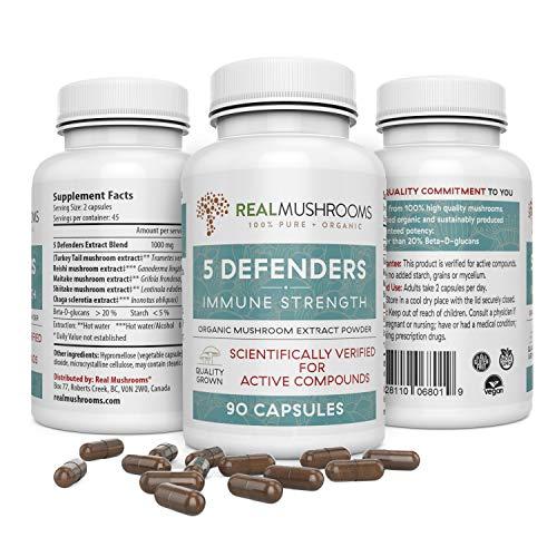 5 Defenders Organic Mushroom Extract Blend (90caps) Chaga, Reishi, Shiitake, Maitake & Turkey Tail Mushroom Supplements, 45-Day Supply of Mushroom Supplement Capsules, Immune Support Wellness Formula (Alchemy Tonic)