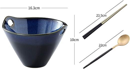 YUN HAI Azul Japonesa De Cerámica De Fideos Soup Bowl con Los Palillos Y Cuchara, Retro Vajillas De Porcelana Ramen, Udon Bowl - 3-Pack, Seguro For Microondas (Color : B): Amazon.es: Hogar