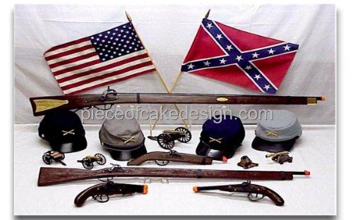 - 1/4 Sheet ~ Civil War Gear Picture Birthday ~ Edible Cake/Cupcake Topper!!!