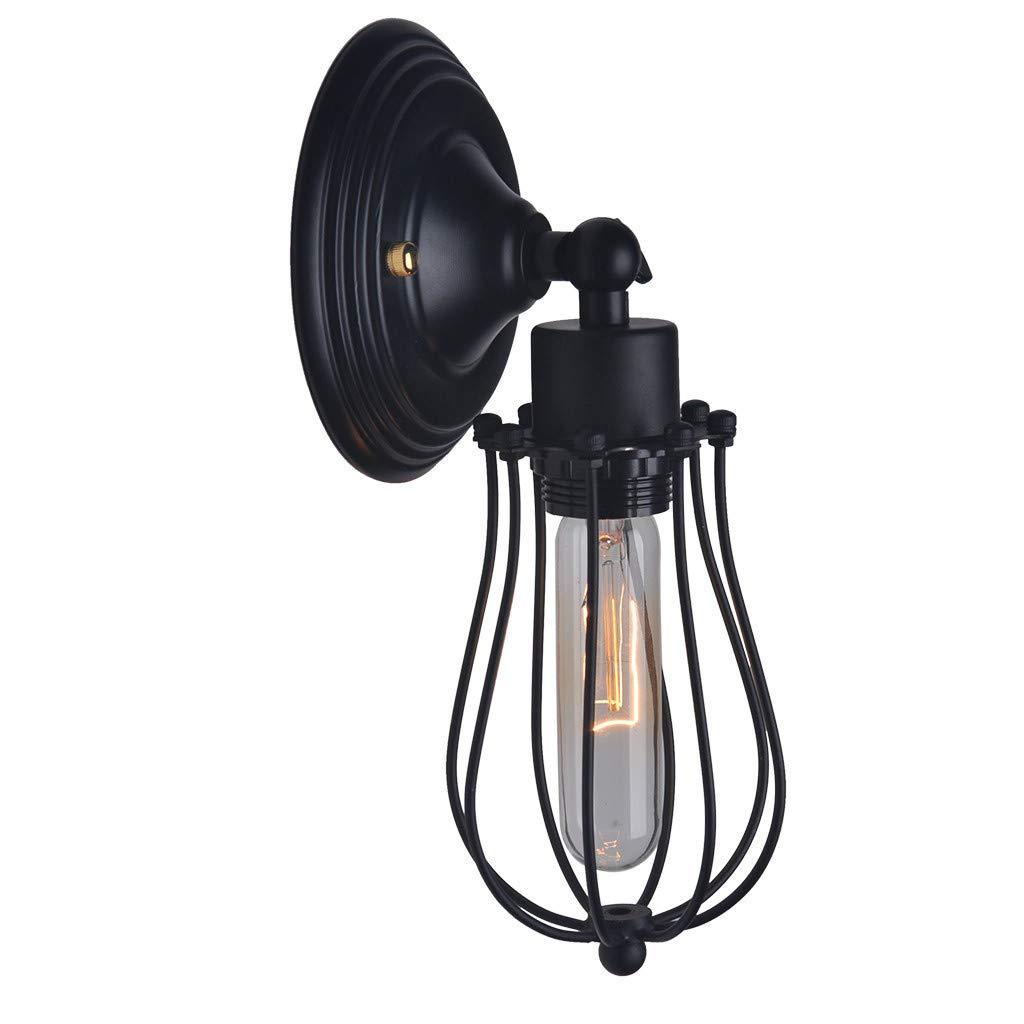 Blueseao Wall Light,Vintage Style Metal Hanging Fixture Pendant Lighting for Indoor, use E27 Light Bulbs, Black