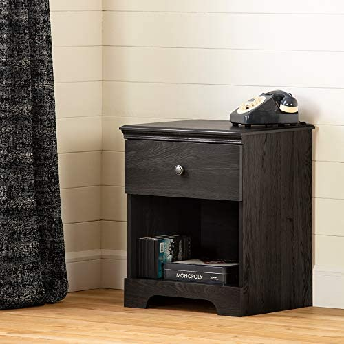 South Shore Zach 1-Drawer Nightstand-Gray Oak