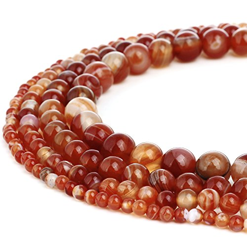 RUBYCA Natural Red Striped Agate Gemstone Round Loose Bead Quartz for Jewelry Making 1 Strand - 6mm