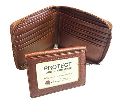 Osgoode Marley RFID Zippered Passcase Leather Mens Bifold Wallet - 1225 (Brandy) ()