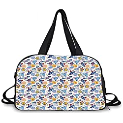 Baby Personality Travel Bag,Cats and Fishes with Love Smiling Kitty Comic Toys Games for Girls Clouds Cartoon for Travel Airport,One_Size
