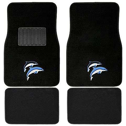 OxGord 4pc Full-Set Embroidered Dolphin Carpet Floor Mats, Universal Fit Mat for Car, SUV, Van Trucks - Front Rear, Driver Passenger - Country Van Carpet