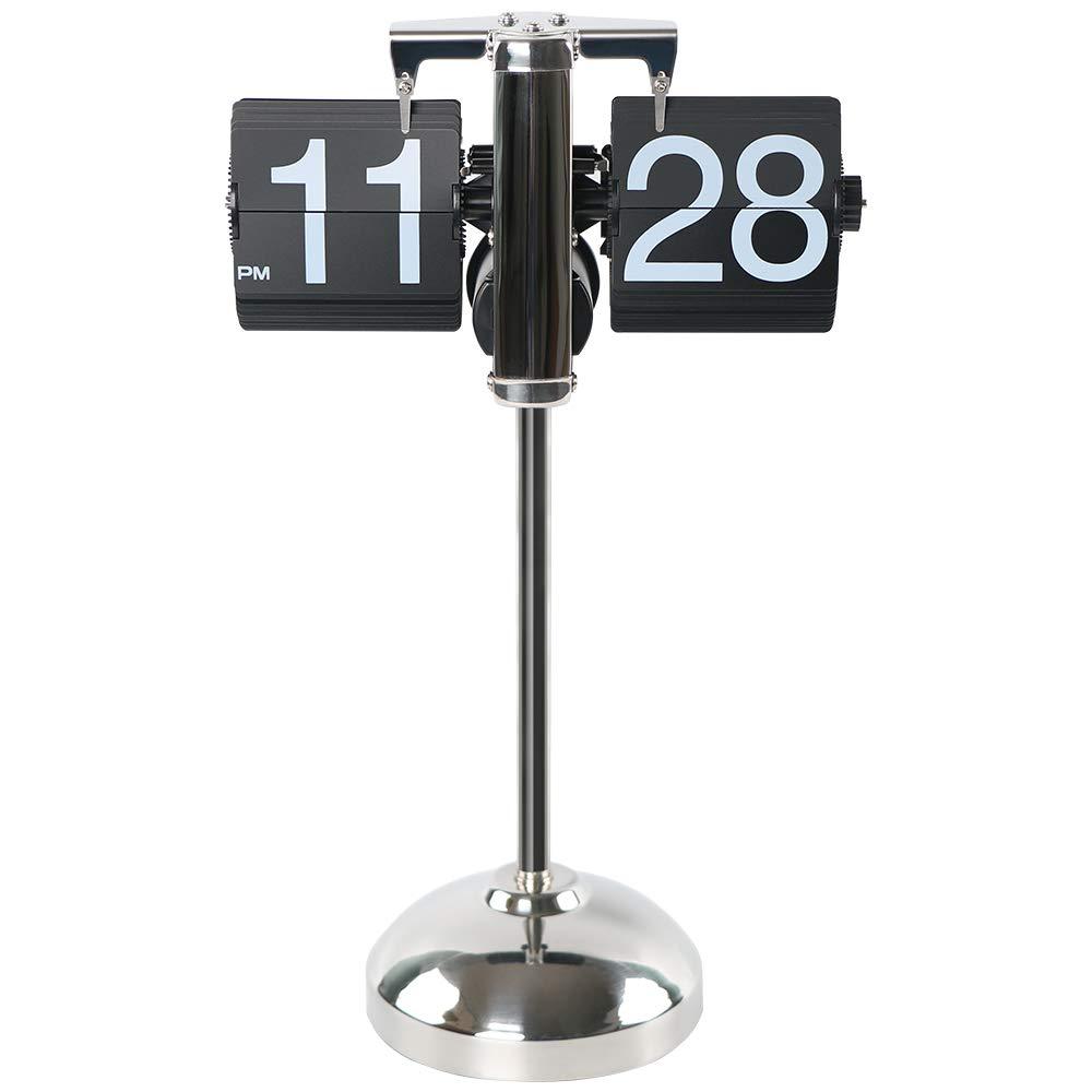 Flip Number Floor Clock for Home Decor MIDCLOCK Retractable Flip Clock Stainless Steel Battery Powered Retro Mechanical Style Flip Desk Clock Classic Black Cool Unique Auto Flip Down Clock