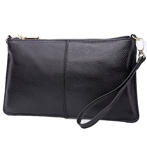 Lecxci Leather Crossbody Purses Clutch Phone Wallets with Card Slots for Women (Black) Image