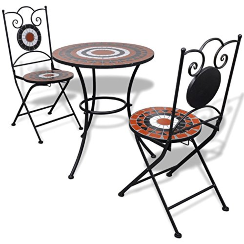 Festnight 3 Piece Bistro Set Ceramic Top Table with 2 Folding Chairs Breakfast Set Mosaic Pattern Powder-Coated Iron Frame Dining Kitchen Pub Bar Patio Garden Balcony Furniture for Indoor and Outdoor