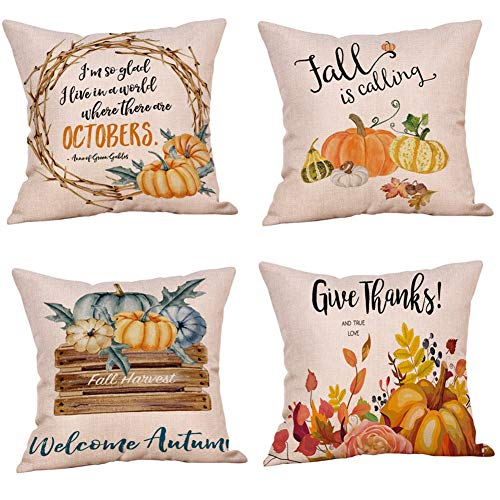 UNIQME Fall Throw Pillow Covers Autumn Thanksgiving Decorative Throw Pillow Case Happy Fall Yall Pumpkin Cushion Cover for Sofa Bedroom Car Decoration Set of 4, 18 x 18 Inch …