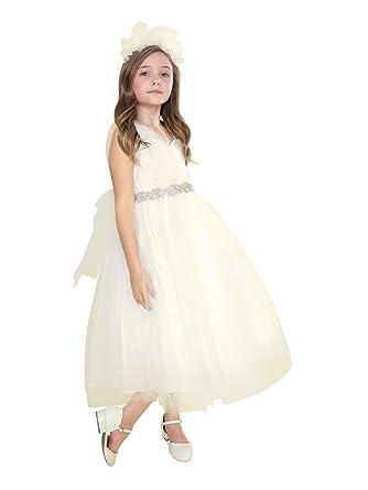 13d77966a5fdc Big Girls Ivory Tulle One Shoulder Adorned Waist Junior Bridesmaid Dress 8