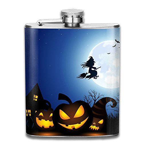 Spooky Halloween Christmas Portable Alcohol Drink Bottle Outdoor Sport Hip Wine Stainless Steel Flask & Funnel Set,7 Oz ()