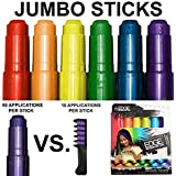 Kids Hair Chalk - JUMBO HAIR CHALK PENS - Washable Hair Color Safe For Kids And Teen - 200% MORE COLOR PER PEN - SCENTED - For Party, Girls Gift, Kids Toy, Birthday Gift For Girls, 6 Bright Colors