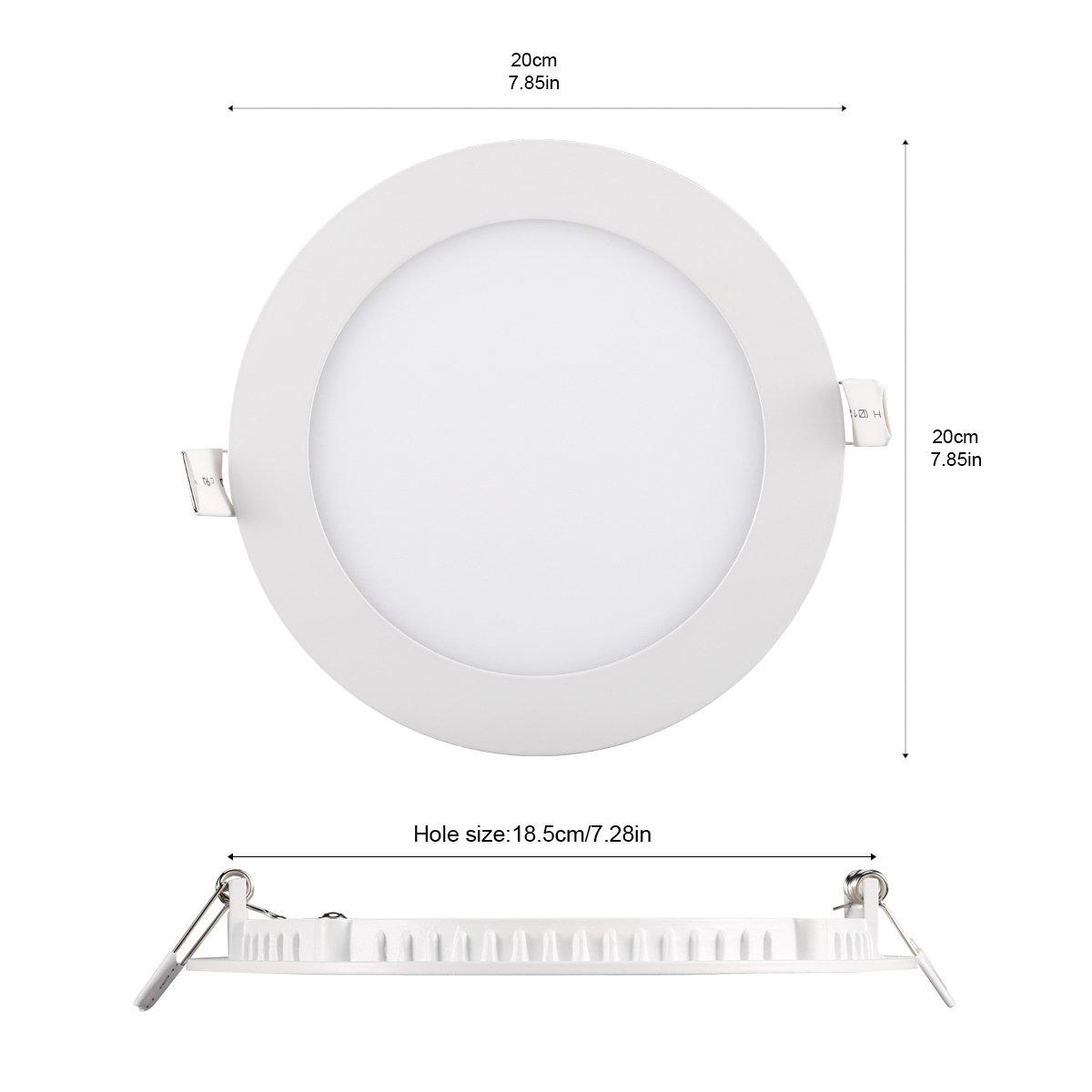 B-right Pack of 5 Units 9W 5-inch Dimmable Round LED Panel Light 720lm Ultra-Thin 4000K Daylight White LED Recessed Ceiling Lights for Home Office Commercial Lighting